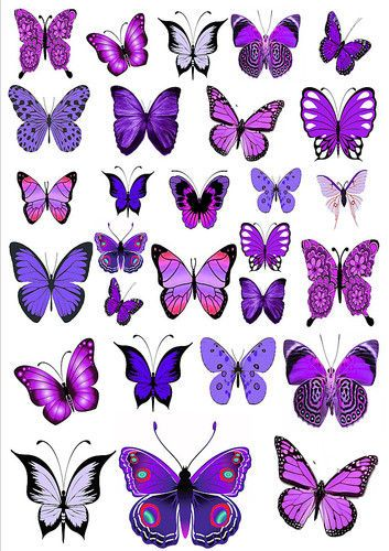 56 x MIXED PURPLE EDIBLE BUTTERFLIES IDEAL 4 WEDDING BIRTHDAY CAKE TOPPERS WB13