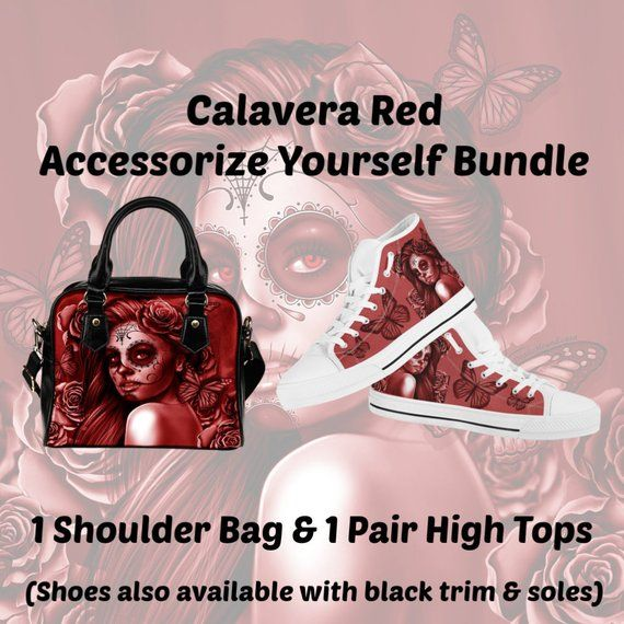 Calavera Design  2 (Red) Accessorize Yourself Bundle  1 - 1 Shoulder Bag   1  Pair Of High Top Canvas Shoes - SAVE 10 BUCKS! 301b44f17812e