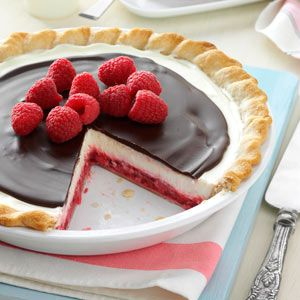 Chocolate Raspberry Pie.  I think this is waht dad is getting for father's day.  but we will use strawberry's instead and maybe mix the filling and chocolate layer.  I am not sure yet