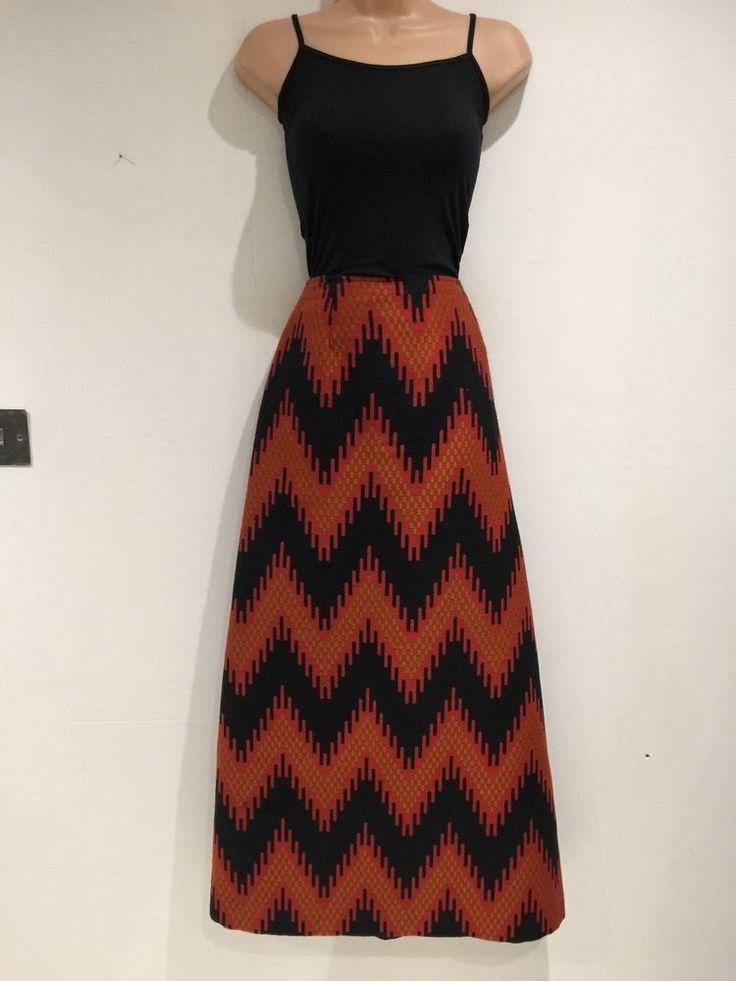 Vintage 1970's Black & Dark Orange Zig Zag Stripe Winter Maxi Skirt Size 10