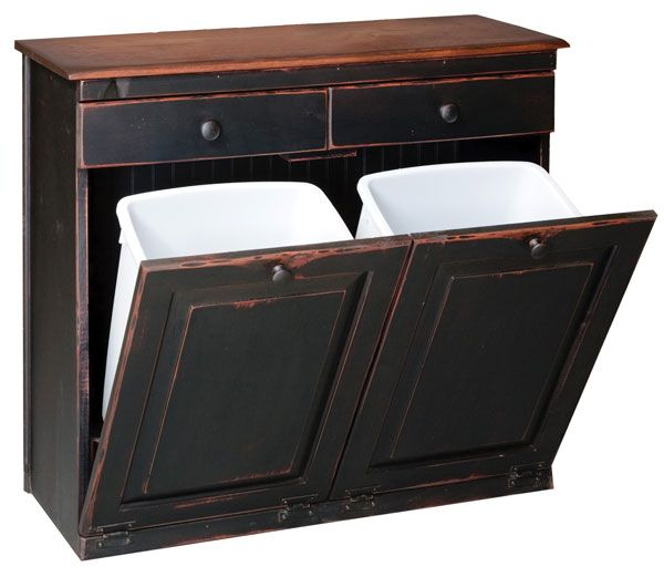 vintage double trash bin one for recycle one for trash and 2 handy drawers for extra storage. Black Bedroom Furniture Sets. Home Design Ideas