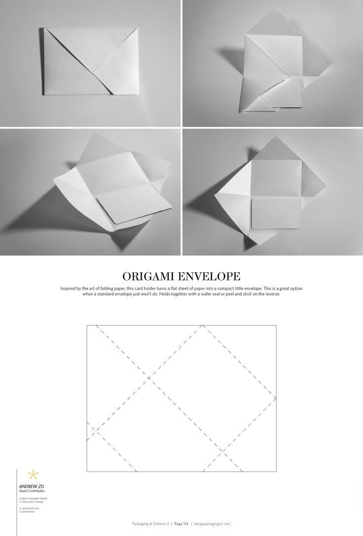 Origami Envelope – structural packaging design dielines