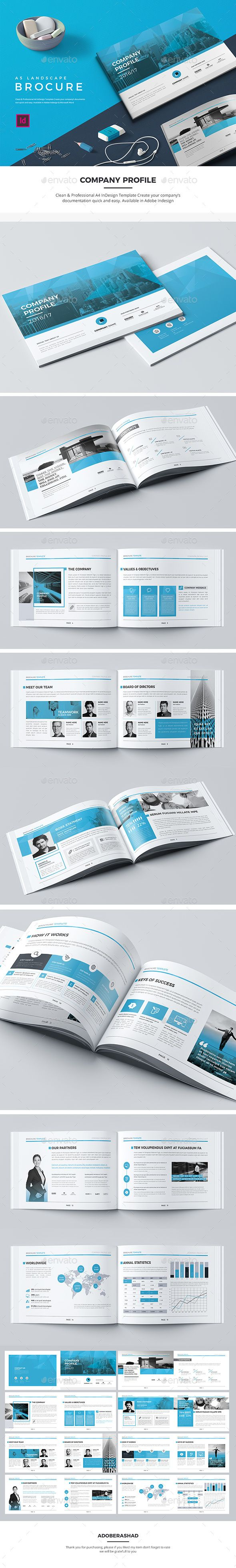 A5 Landscape Company Profile — InDesign INDD #corporate • Download ➝ https://graphicriver.net/item/a5-landscape-company-profile/19908161?ref=pxcr