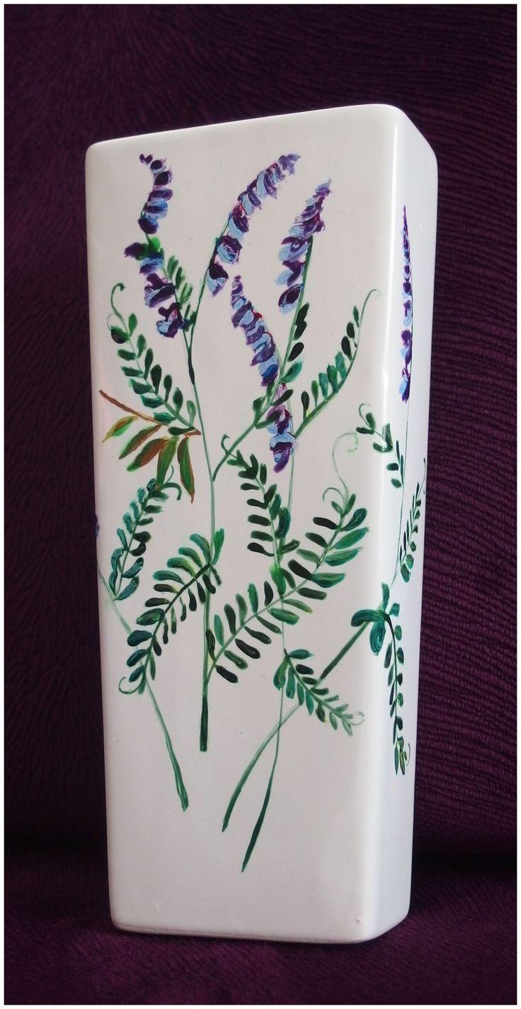 Nawilżacz powietrza ręcznie malowany - Kwiaty wyki - Agnieszka Sokołowska #nawilżacz #wyka #handpainted #porcelainpainter