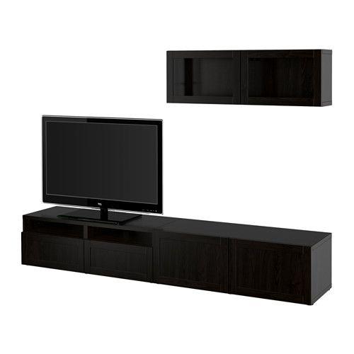 BESTÅ TV storage combination/glass doors - Hanviken/Sindvik black-brown clear glass, drawer runner, soft-closing - IKEA