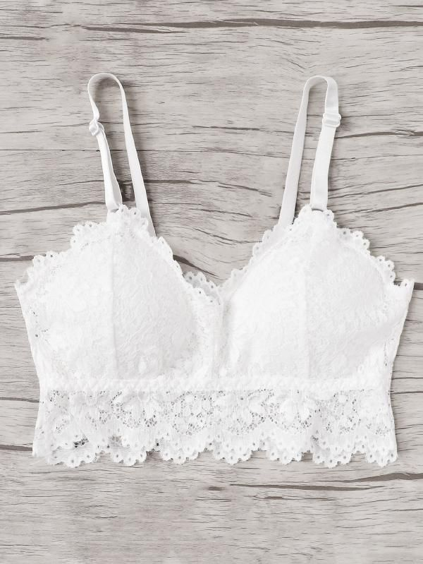 09a7a3fcd2 Lace Overlay Bralette -SheIn(Sheinside)