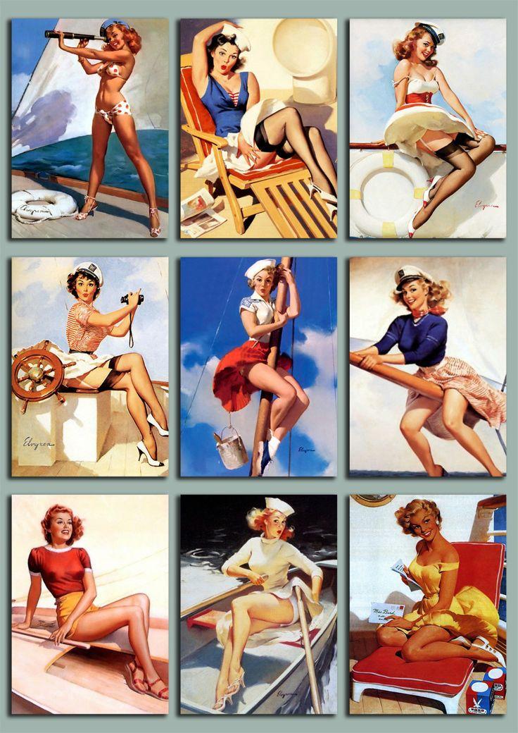 INSTANT DOWNLOAD, Vintage Hula Girls, Digital Collage
