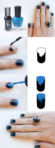 The Fade.: Nails Art, Nailart, Nails Design, Black Nails, Gradient Nails, Nails Polish, Ombre Nails, Nails Tutorials, Blue Nails