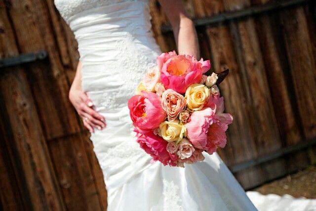 Wedding bouquet with peony