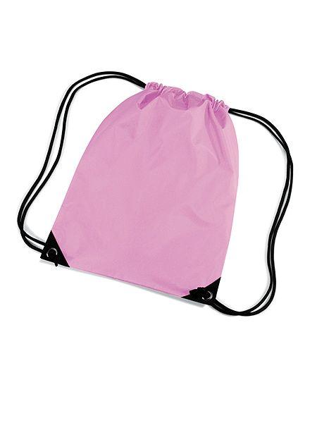 Roze gymtasjes nylon  Nylon gymtas in het roze van waterafstotende stof en rijgkoord. Inhoud van de roze gymtasjes is ongeveer 12 liter. Afmeting van de gymtassen in het roze is 45 x 34 cm.  EUR 3.50  Meer informatie