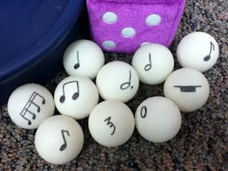 bounce them to a child, have him/her name the note and sound, then have them bounce in back to you.. fun!