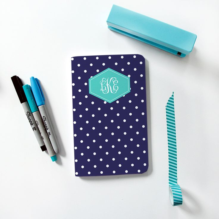 YAY! New #maydesigns monograms are here! Shop this style: http://www.maydesigns.com/shop/books/create/college-navy-dots/