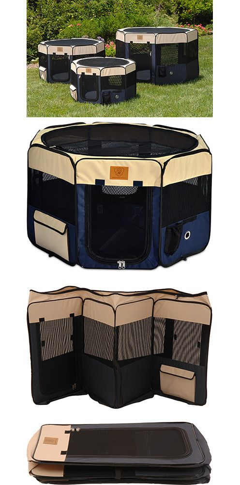 #FairfieldGrantsWishes Totally need this for my dog!   Need help with finding the right size? See our Dog Crate Size Breed Chart. Description For indoor or outdoor use, this versatile navy & tan soft dog playpen is packed with features and offers a variet