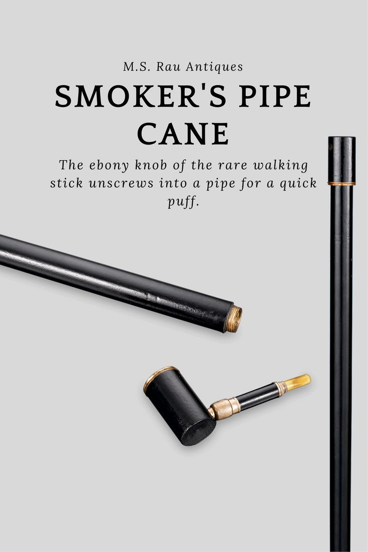 This handsome cane is the perfect accessory for any tobacco enthusiast.  The ebony knob of the rare walking stick unscrews into a pipe for a  quick puff. ~ Wooden Cane, System Canes, Unique Walking Sticks, For Sale ~ M.S. Rau Antiques