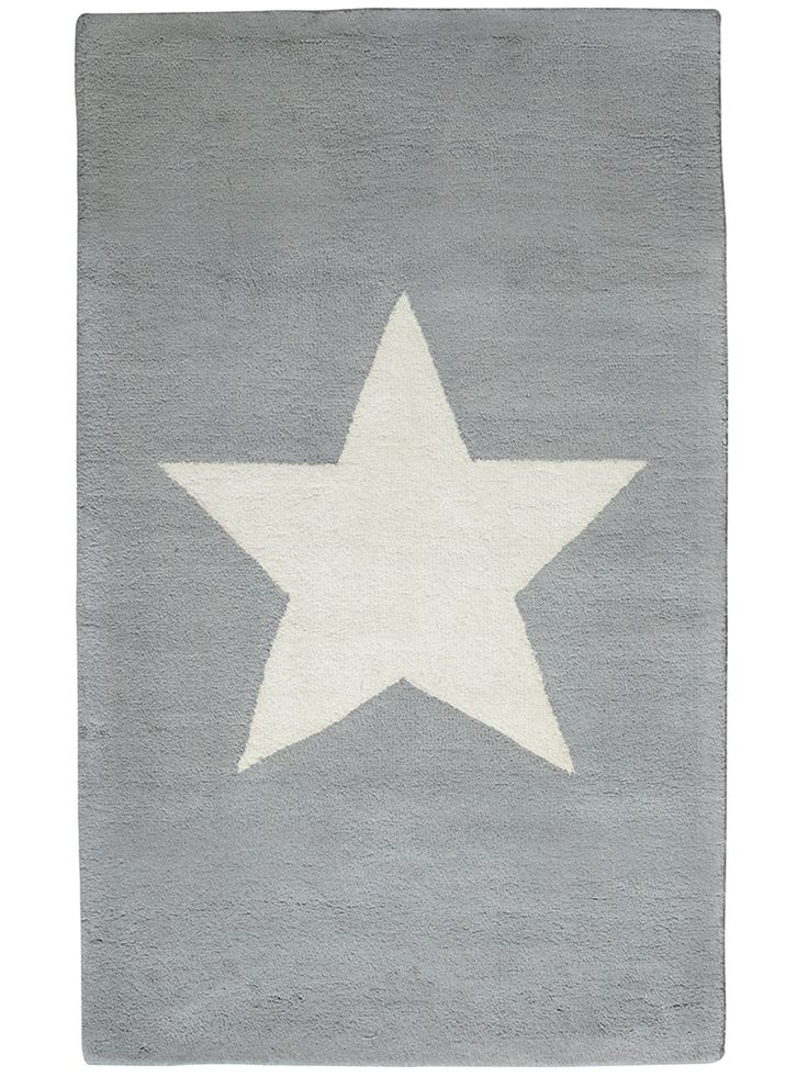 Star quality in our own design, this sumptuous 100% wool rug comes in this soft grey colour or a striking red colour, both with a cream star centre. A great way to add new life to a kid's room or study space.