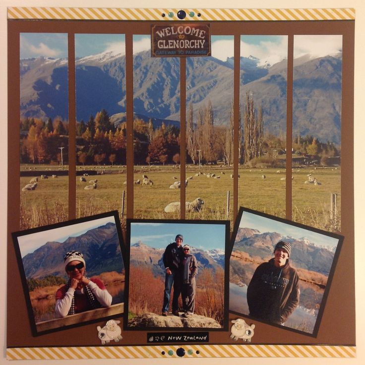Scrapbook layout - New Zealand landscape - sheep