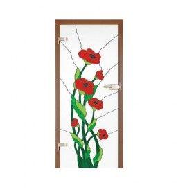 Drzwi szklane witrażowe GIPSY KINGS CZERWONE  MAKI