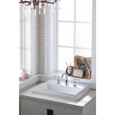 kohler tresham vitreous china drop in bathroom sink in white with overflow drain