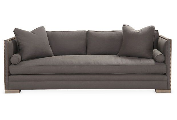 "Dunsmier 94"" Tailored Sofa, Charcoal on OneKingsLane.com"