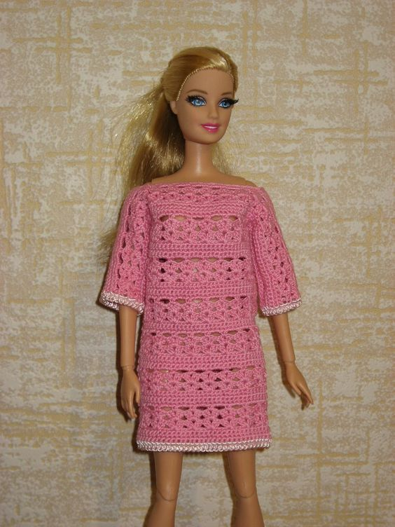 Вязание для кукол crochet barbie dress: