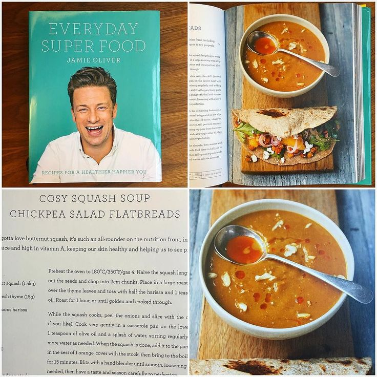 My cosy squash soup from my new book #everydaysuperfood is a real January winner. Its heart-warming and healthy  butternut squash is a serious all-rounder on the nutrition front. Make up a batch this week then portion up the leftovers for lunch throughout the week big love Jumx. by jamieoliver #haxenhaus #people #food