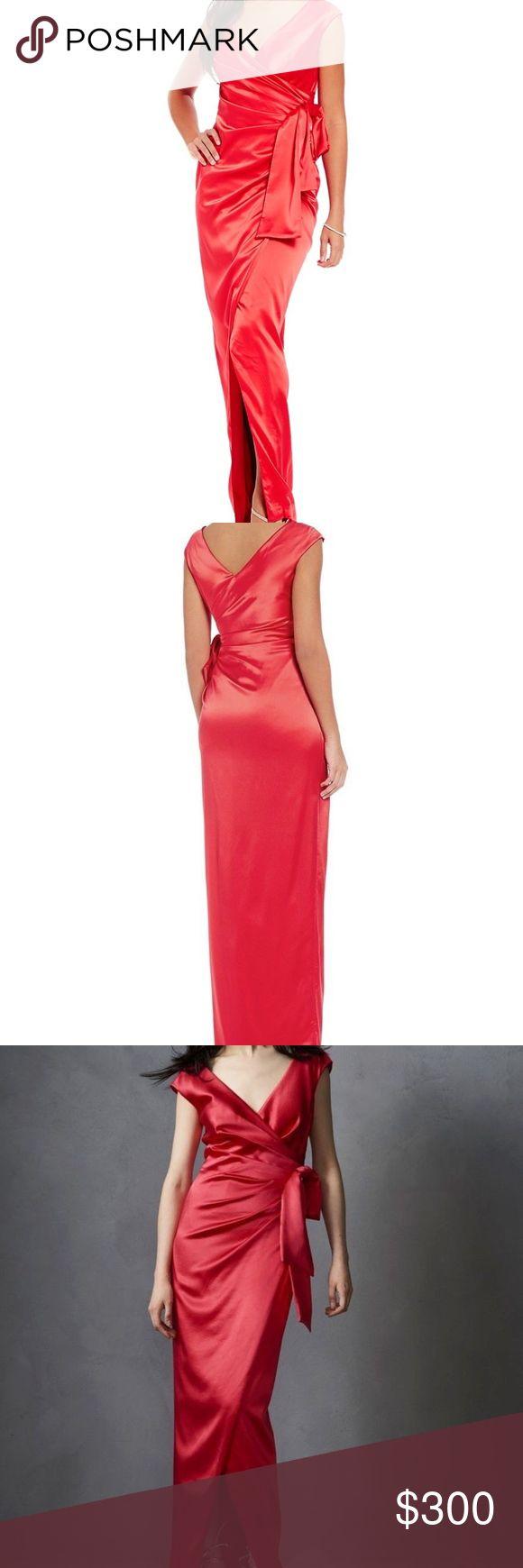 Kay Unger Stretch Satin Sheath faux wrap dress Kay Unger Stretch Satin Sheath Party prom faux wrap Formal gown maxi dress SZ 14 color..Persimmon Kay Unger Dresses Maxi