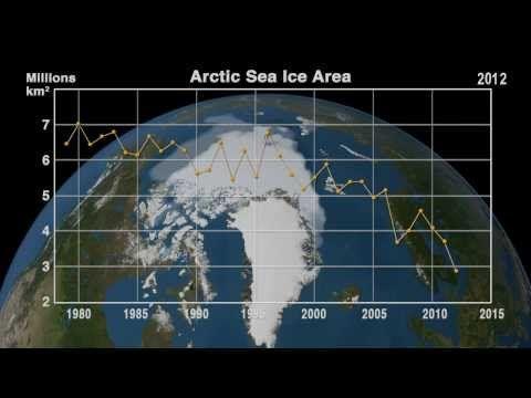 Los mínimos valores en la capa de hielo del Ártico (1979 - 2013) En este vídeo realizado por la NASA, y creado con imágenes de microondas o...