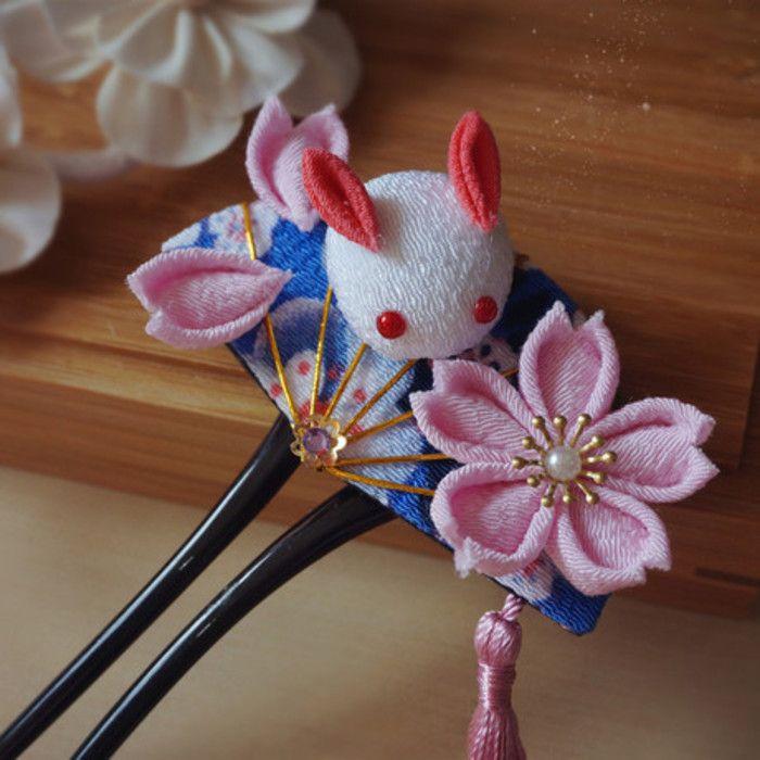 纯手工 日式和风发簪 和风绉布兔子 和服浴衣COS 艺妓 【落樱】