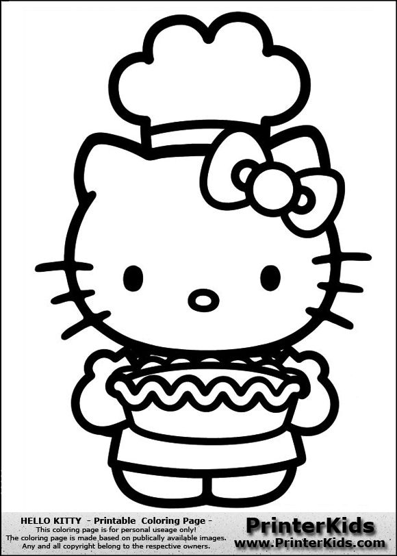 hello kitty chef coloring page