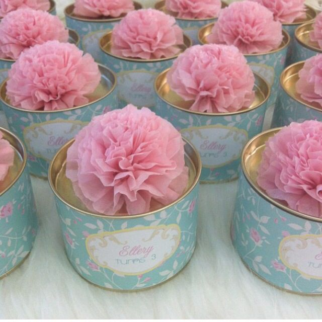 Canister flower tissue door gift candy buffet ideas for Idea door gift tunang