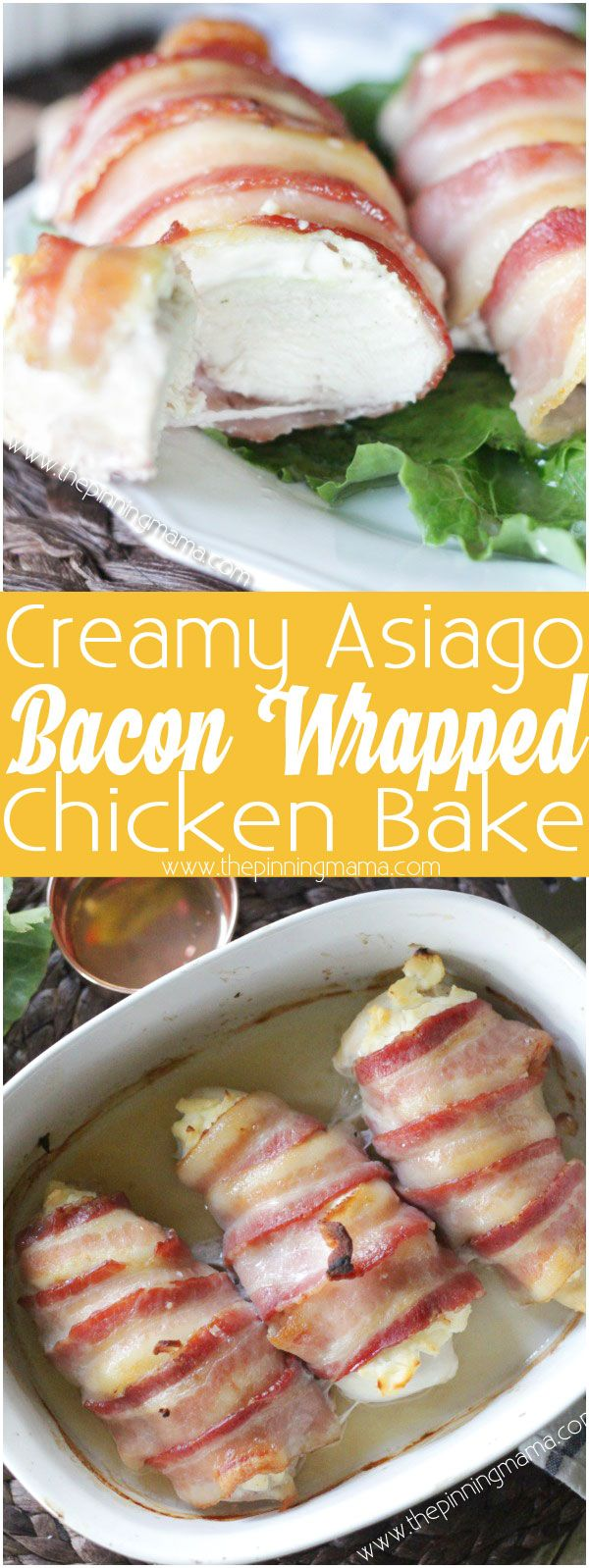 Bacon Wrapped Creamy Asiago Chicken Bake - Flavors of creamy asiago cheese and juicy chicken breast wrapped up in bacon. Does it get any better than this?! YUM!
