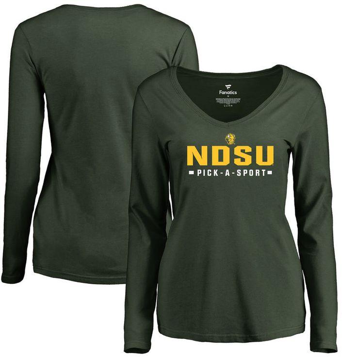 NDSU Bison Women's Custom Sport Slim Fit Long Sleeve T-Shirt - Green
