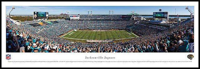 Jacksonville Jaguars Wood Mounted Panoramic Poster Print - EverBank Field aka Municipal Stadium