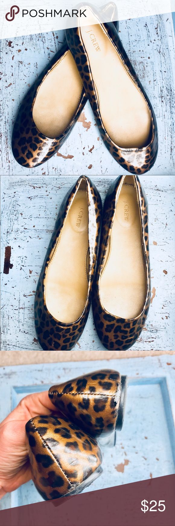 J Crew Leopard Ballet Flats Black Brown Neutral Very comfortable and cute. Good used condition. Minor scuffing and wear along the edges. Don't be shy, we love Offers! Thank you for looking.  Smoke free home. Please ask seller any questions before purchase. J. Crew Shoes Flats & Loafers