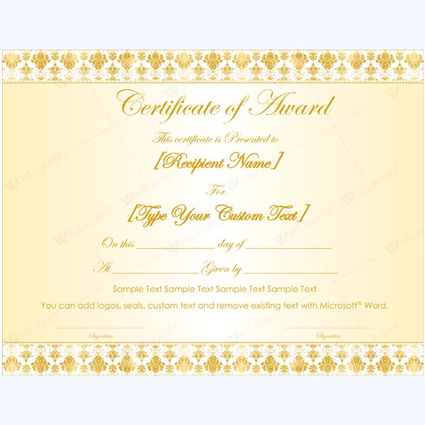 99 best Award Certificate Templates images on Pinterest Award - certificate template blank