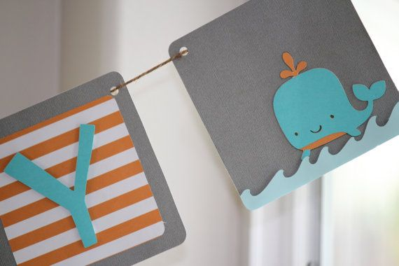 whale sign in orange, blue and grey! Our exact theme!