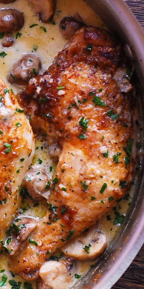 Easy Chicken Legs with Creamy Mushroom Sauce #dinner