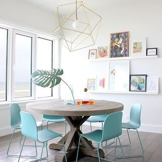 Lovely turquoise dining chairs | #instacurated #curateddiningroom image via Sarah Stacey ❄️