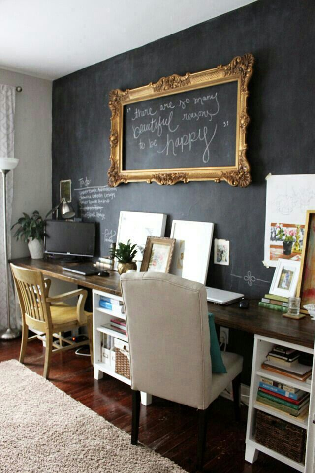 ღ Chalk board focal wall, gold frame.