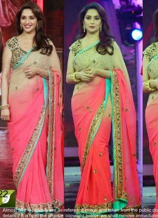 Madhuri Pink Shadow Designer Bollywood Saree http://www.angelnx.com/