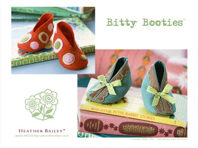 Bitty Booties by Heather Bailey: Free pattern to download and customize.