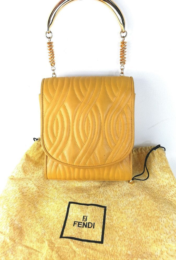 FENDI vintage bag collection Pasta Karl Lagerfeld 1980 leather yellow Borsa