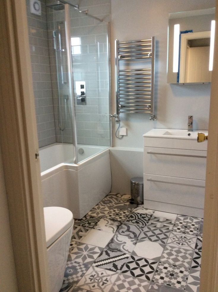 these funky patterned floor tiles look fantastic against the crisp white bathroom suite this photo was sent in by laurie from london