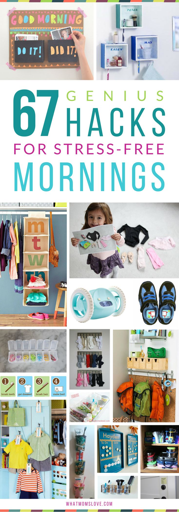 Hacks, Tips and Tricks for Stress-Free Mornings with Kids | Organization ideas for back-to-school. including morning routine checklists, clothes organization, command centers and backpack nooks, bathroom hacks, and more! Get all the inspiration at whatmomslove.com