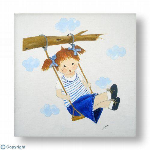 Cuadro infantil personalizado: Niña en un columpio (ref. 10211)
