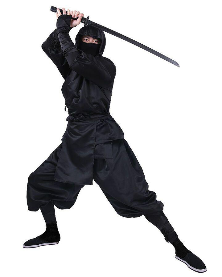 Ninja Martial Arts Warrior Fighter Black Fancy Dress Up Halloween Adult Costume