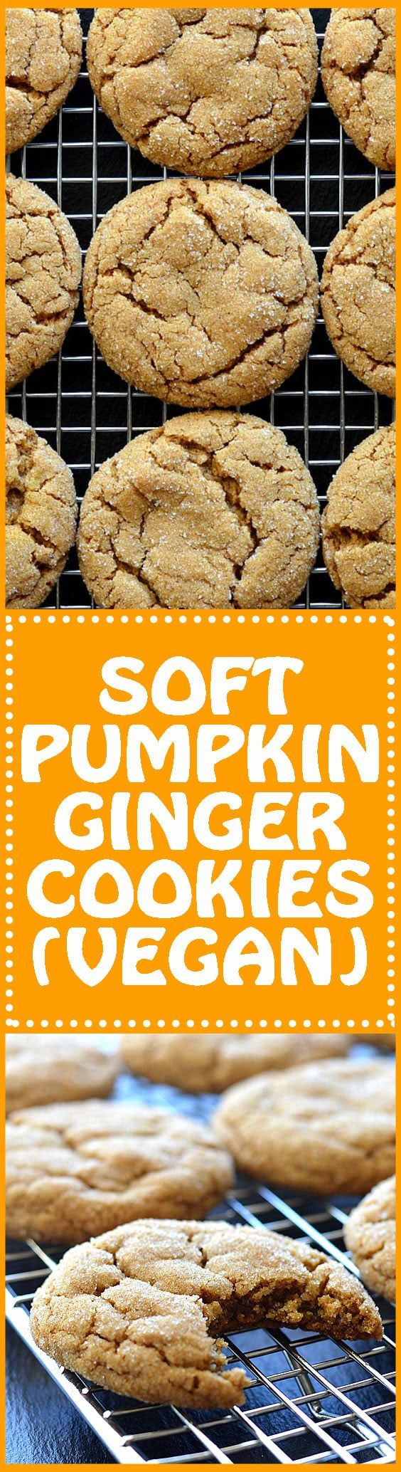 pumpkin ginger cookies * Really tasty, they're nice and chewy and flatten out super well