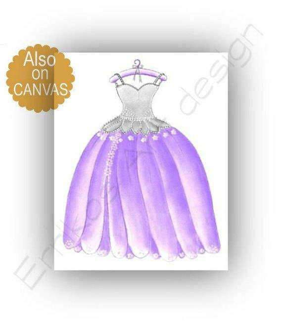Princess Dress Art Print Purple Girl Nursery Girls room