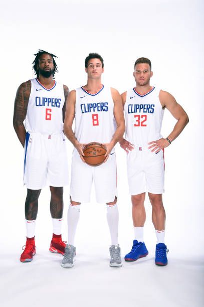 e03447a5d54f DeAndre Jordan Danilo Gallinari and Blake Griffin of the LA Clippers poses  for a portrait during the 201718 NBA Media Day at the Los Angeles Clippers.