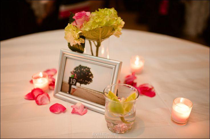 engagement photos as centerpieces